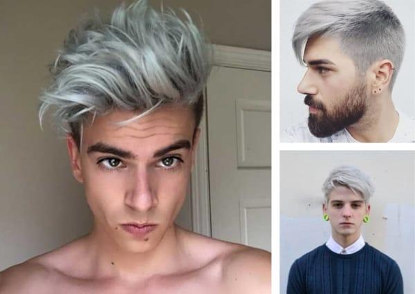 Montagem com fotos de três homens com cabelo liso cinza 1