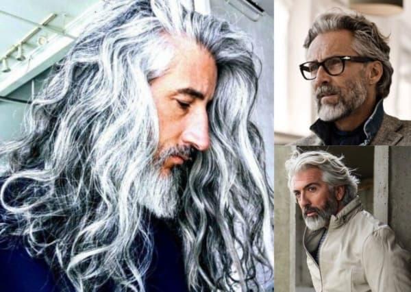 Montagem com fotos de três homens com cabelo ondulado cinza 1