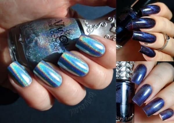 Montagem com três fotos de unhas azuis