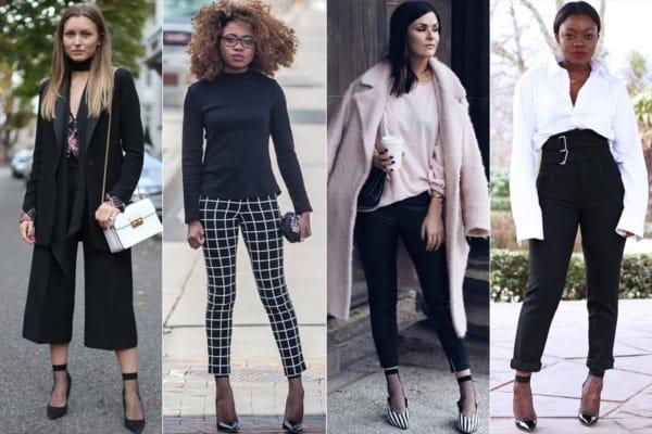 Quatro looks femininos para ir trabalhar com meia soquete arrastao