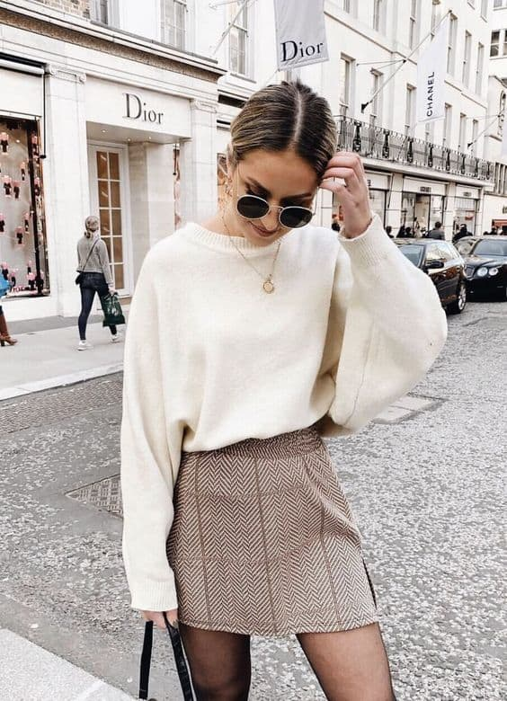Saia chevron com tricô branco