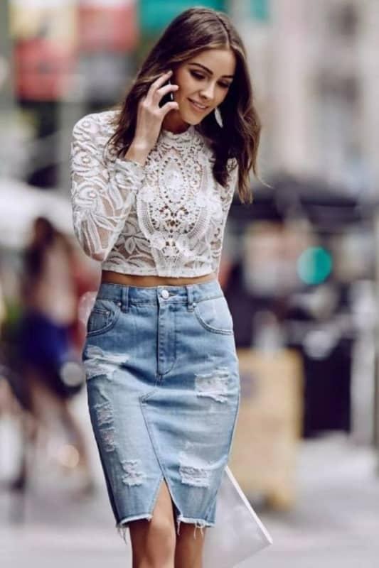 Saia jeans com cropped de renda