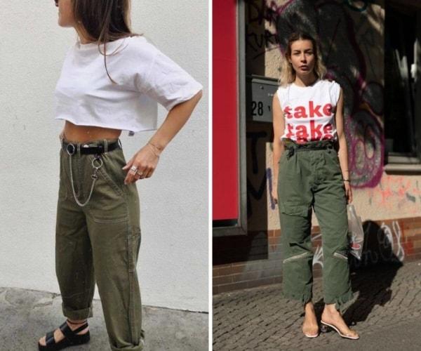 Streetwear combina com calça cargo feminina verde militar