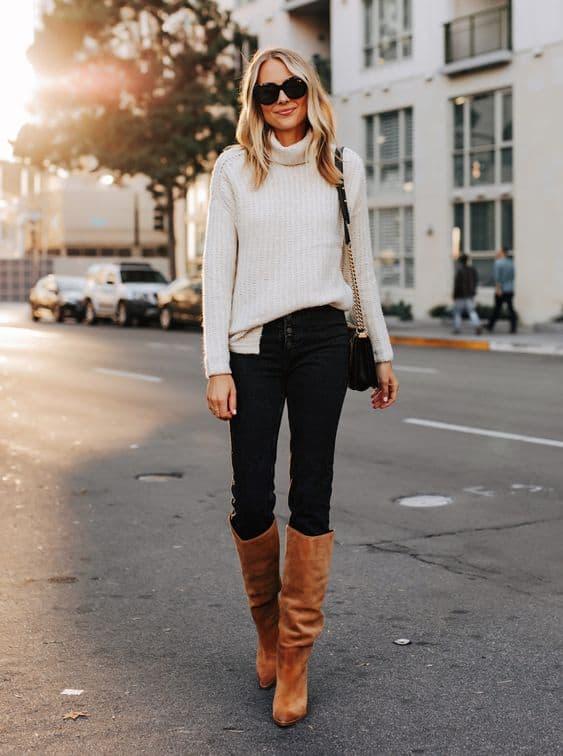 Suéter feminino com gola alta