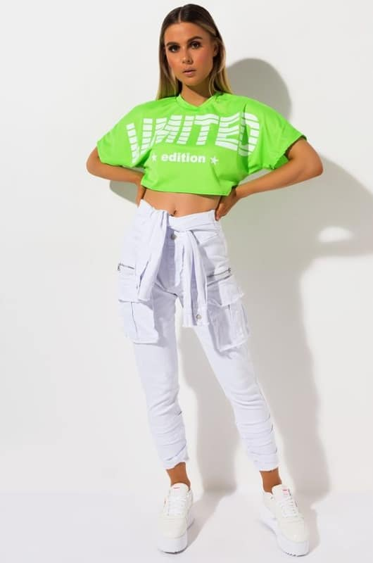 T shirt cropped neon verde com estampa