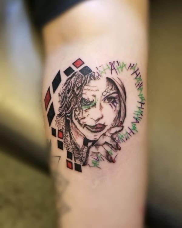 Tatuagem Arlequina e Coringa dupla