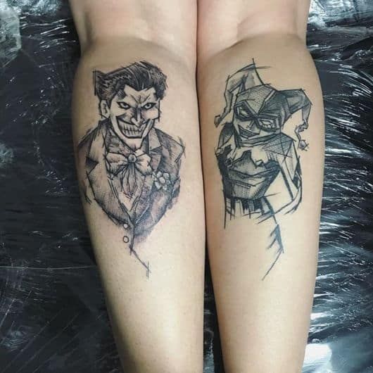 Tatuagem Arlequina e Coringa