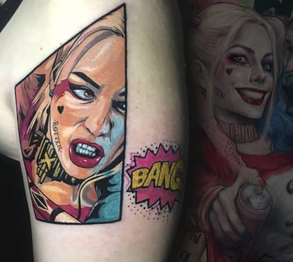 Tatuagem Arlequina feminina