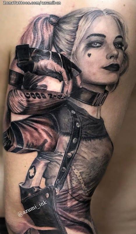 Tatuagem Arlequina grande no braço