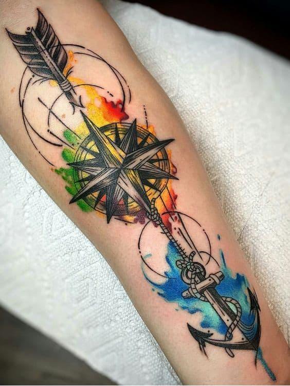 Tatuagem colorida masculina