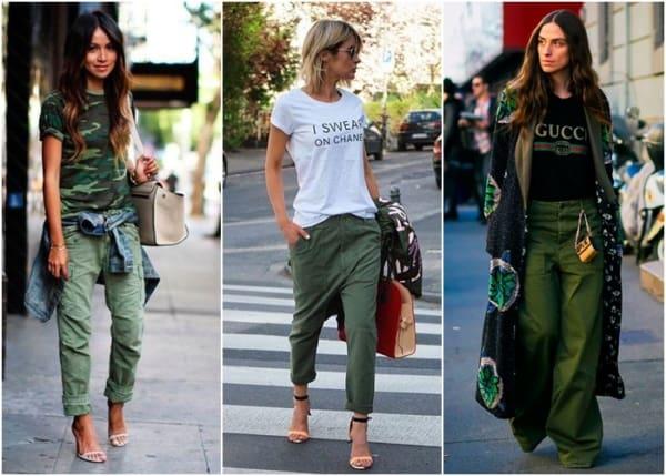 Três looks estilosos com calça cargo feminina verde
