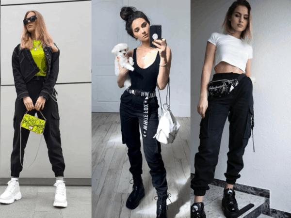 Três looks femininos com calça cargo preta