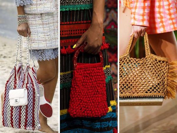 Três modelos de bolsas de crochê