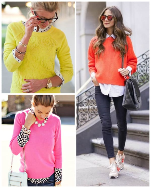 Três suéteres coloridos femininos