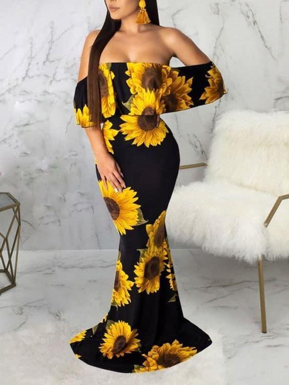 Vestido sereia com girassois para quem quer um visual sexy