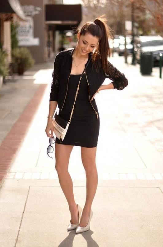 Você pode usar Jaqueta preta com vestido