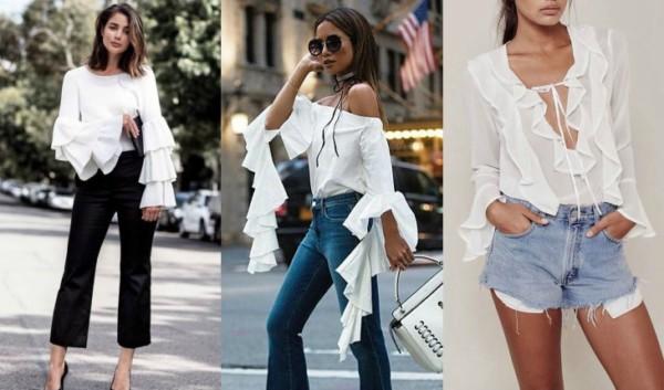 blusa manga longa com babados 44