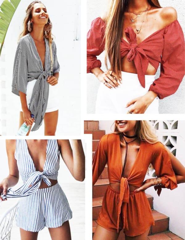 blusas com laços frontais 40