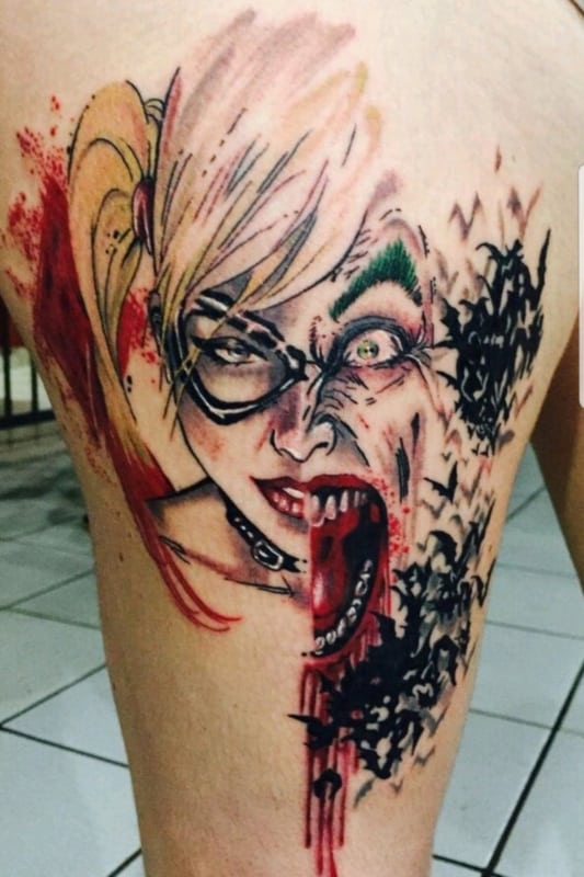 ideia de Tatuagem Arlequina e Coringa