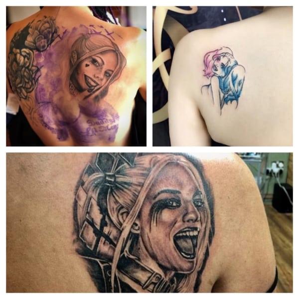 ideias de tatuagem Arlequina nas costas