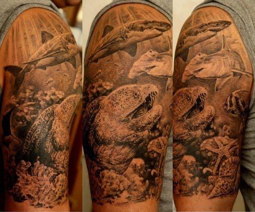 ideias de tatuagem fundo do mar sombreada