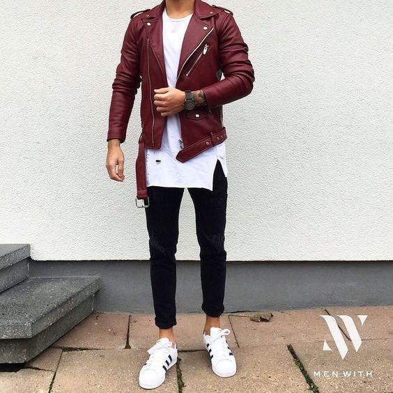 jaqueta Biker vermelha com camiseta longline