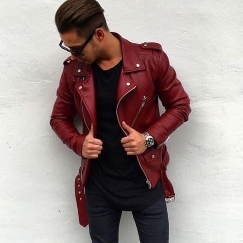 jaqueta Biker vermelha