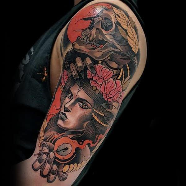 linda Tatuagem colorida masculina