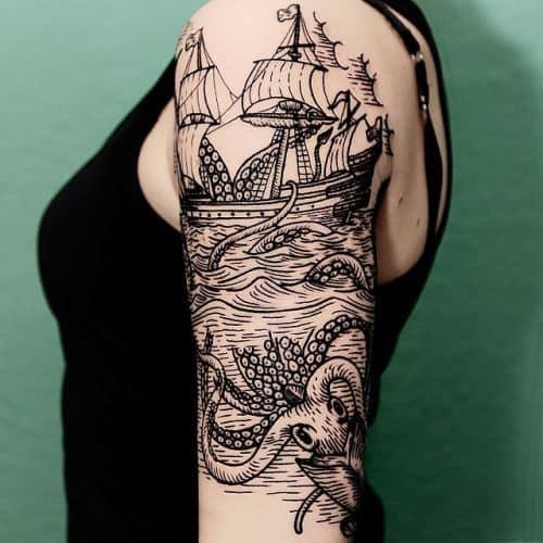 linda Tatuagens fundo do mar preto e branco