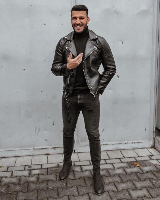 look preto com jaqueta Biker