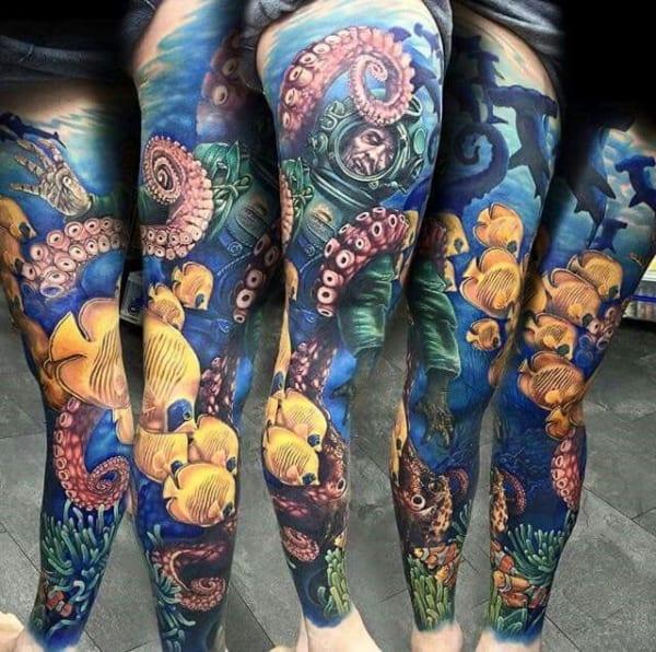 modelo de tatuagem fundo do mar realista