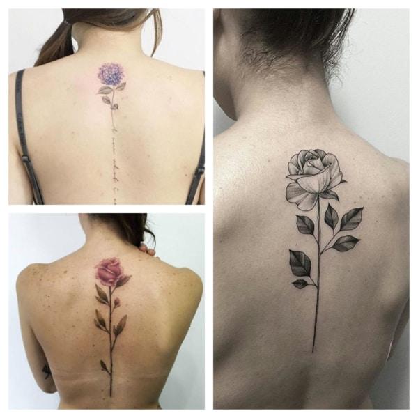 rosa tatuada na coluna