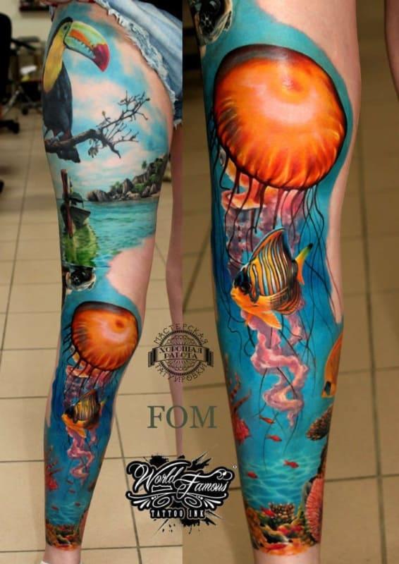 tatoo fundo do mar na perna