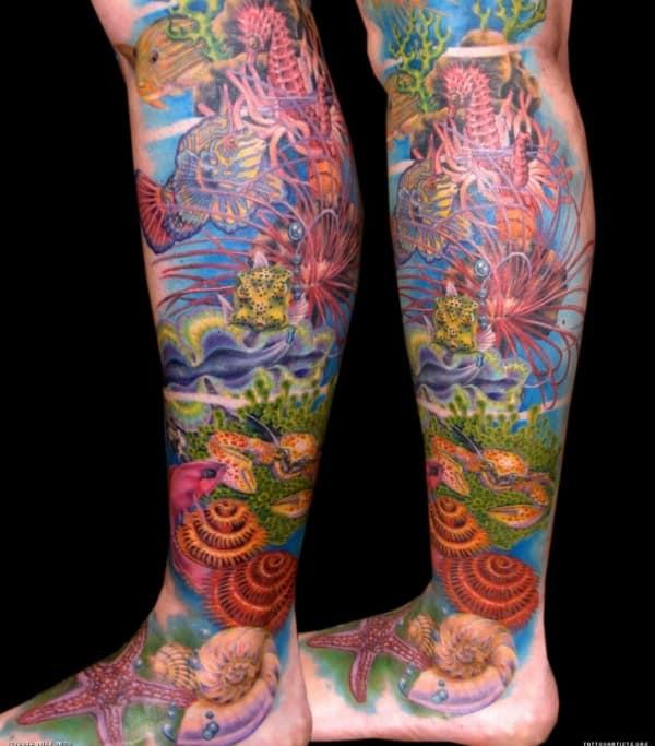 tattoo fundo do mar no braço colorida