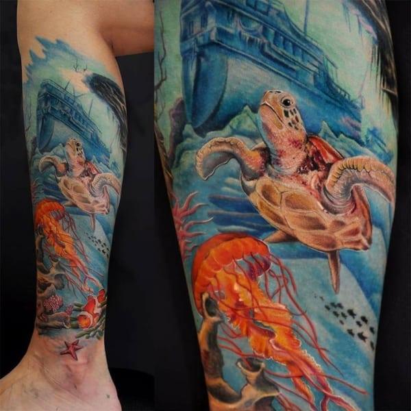 tattoo fundo do mar no braço