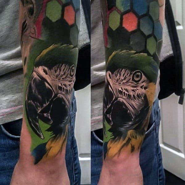 tatuagem de arara colorida