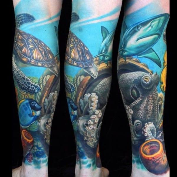 tatuagem fundo do mar na perna ideias