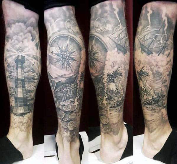 tatuagem fundo do mar na perna sombreada