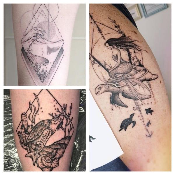tatuagem fundo do mar preta e branca