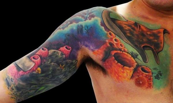 tatuagem fundo do mar realista