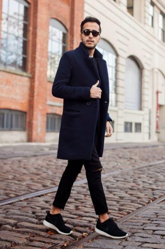 look masculino de inverno com casaco
