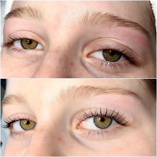 resultado de cílios com lash lifting