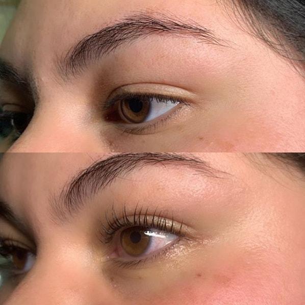 antes e depois de cílios finos curvados