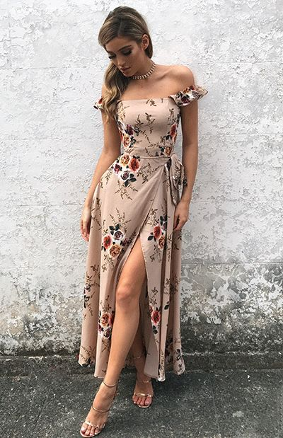 look com vestido nude floral