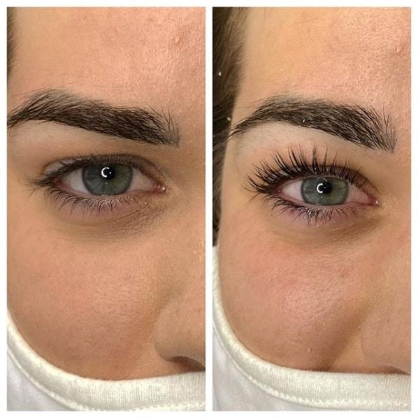 resultado de lash lifting em olhos claros
