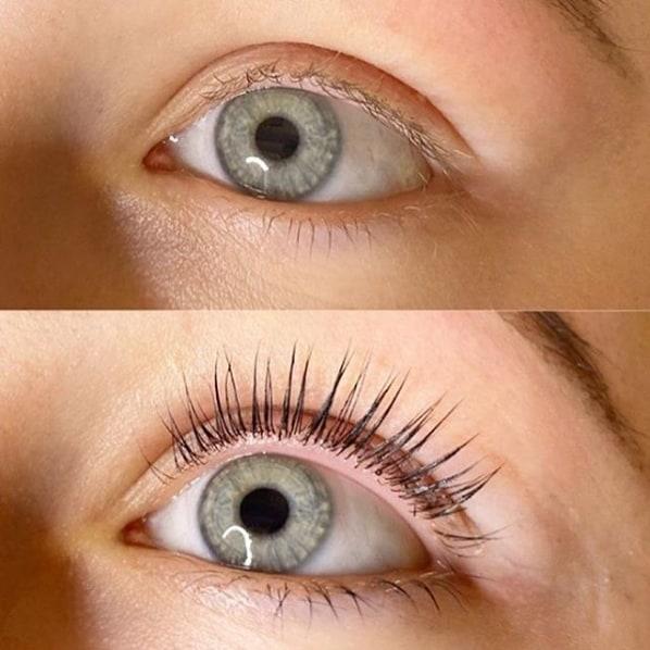 antes e depois lash lifting e coloração dos cílios