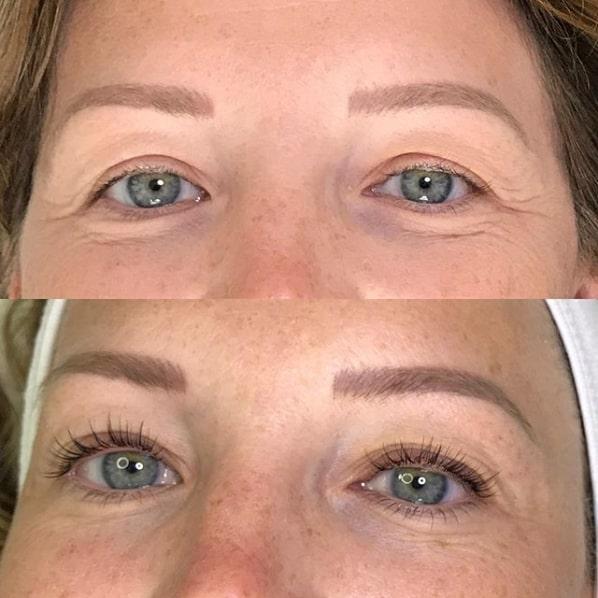 antes e depois de lash lifting em olhos claros