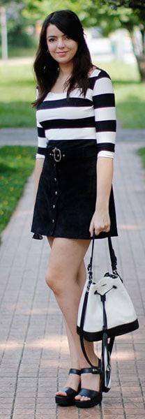 look com bolsa saco preta e branca