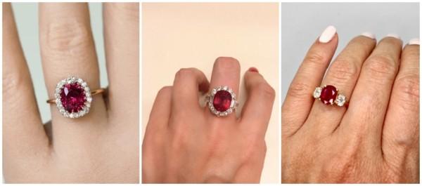 17 modelos de anel de rubi com diamante
