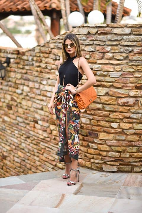 look com saia midi pareô e body